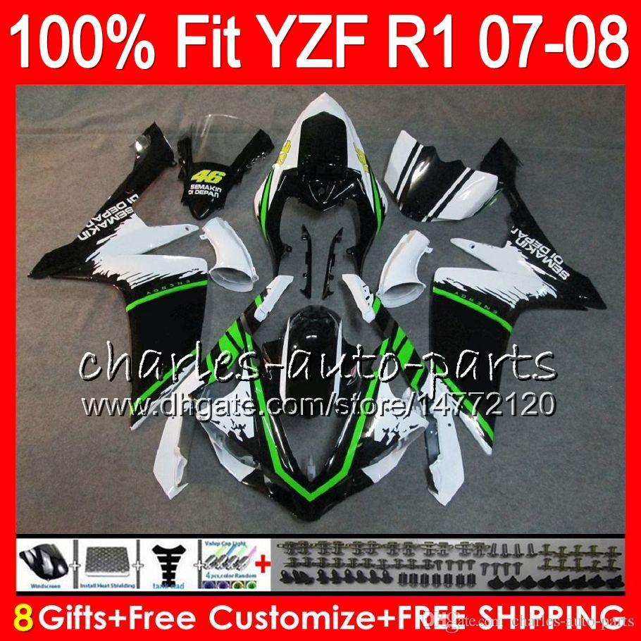 8Presentes de injeção para YAMAHA YZF1000 YZFR1 07 08 YZF 1000 37HM4 preto branco YZF-R1 07-08 YZF-1000 YZF R 1 YZF R1 2007 2008 Carenagem
