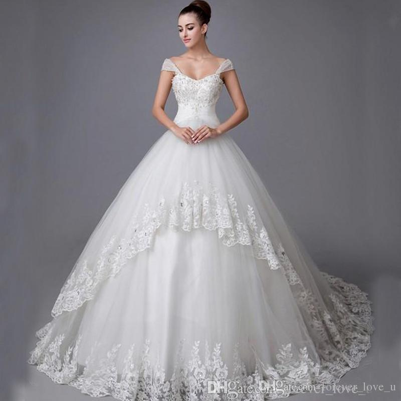 Ball Gown Wedding Dresses Applique Crystal Beads Lace Sleeveless ...