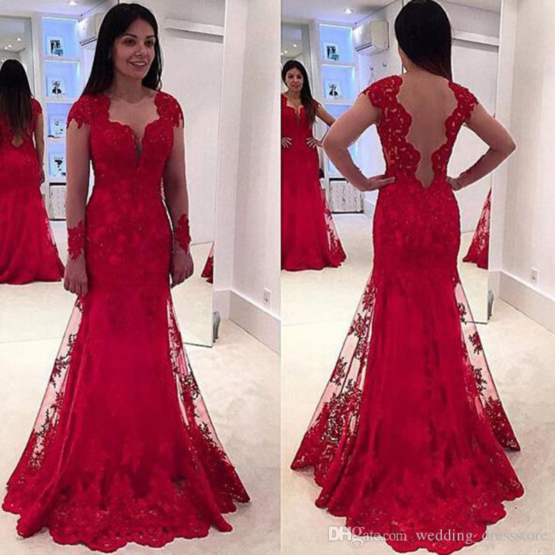 Long Sleeve Mermaid Red Evening Dresses 2017 V-Neck Tulle Applique Beading Backless Sweep Train Formal Prom Dresses