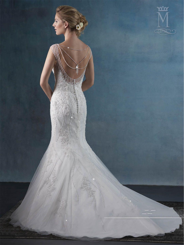 Sheer Beaded Back Wedding Dress
