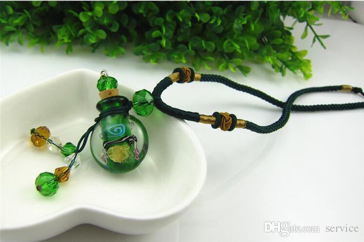 10 unids / lote Ronda de Cristal difusor de aceite esencial collares flores frasco colgante de aromaterapia colgante botella de perfume de la vendimia colgante nec
