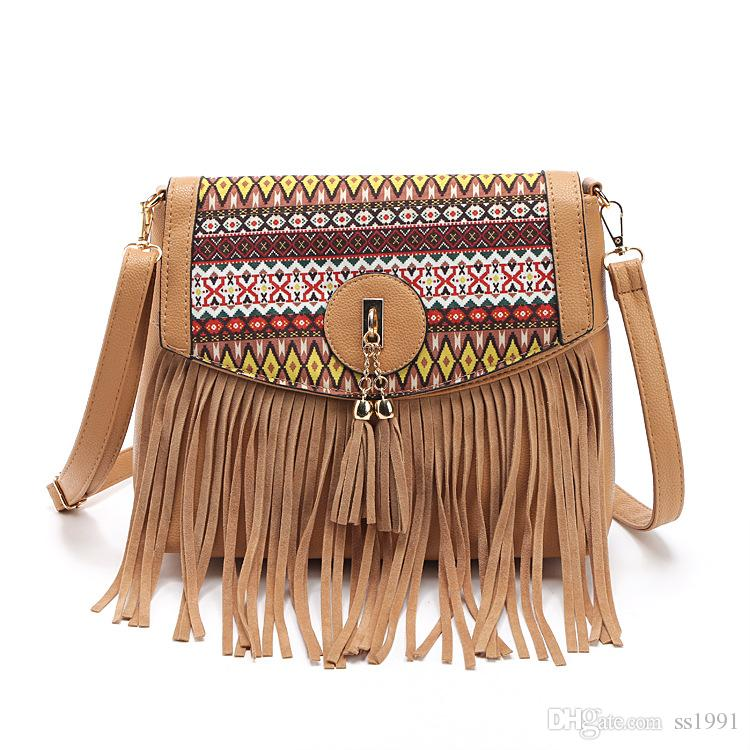 New Style Simple Embroidery Women Crossbody Bag Fashion Chain Shoulder Bag Tassel Women Messenger Bag bolso feminina Sac Femme