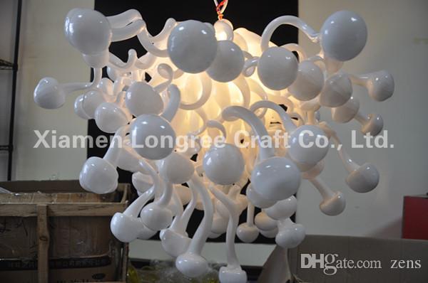 Moderne Cristal Lustre En Verre De Murano Plafonnier Suspendu Givré Blanc Couleur Chihully Style Lustres En Verre De Murano