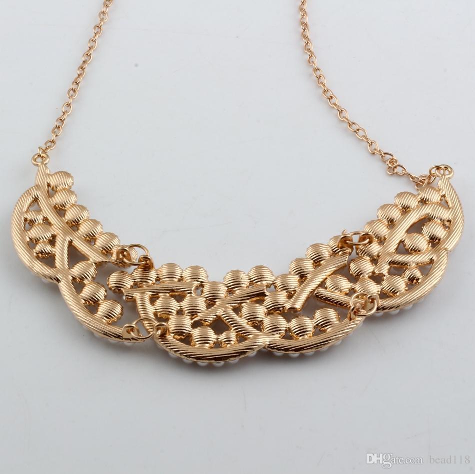 Hot ! Fashion New Elegant Imitation Pearl Hollowed Golden princess false collar short necklace