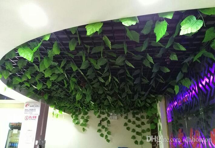 90 leaves 2.4m artificial green grape leaves other Boston ivy vines decorated fake flower cane wholesale HH08