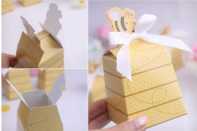Cute Little Bee Paper Candy Box for Wedding Baby Shower Birthday Favors and Gifts Kids Party Decorative Supplies
