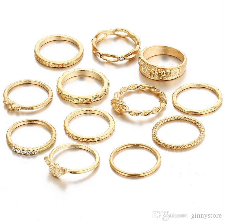 Set Women Joint Rings Fashion Retro Diamond bination Solid Gold