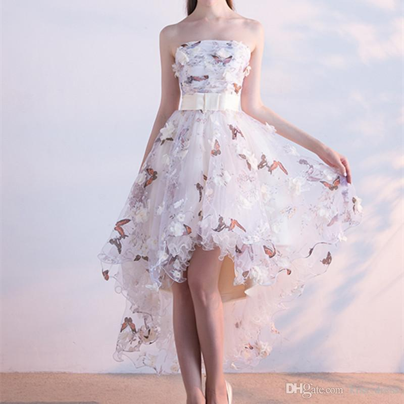 c43817499 High Low Floral Embroidery Prom Dresses 2019 A Line Matched Bow Sash 3D  Flower Butterfly Strapless Evening Dresses Formal Pageant Gowns P203 Orange  Prom ...