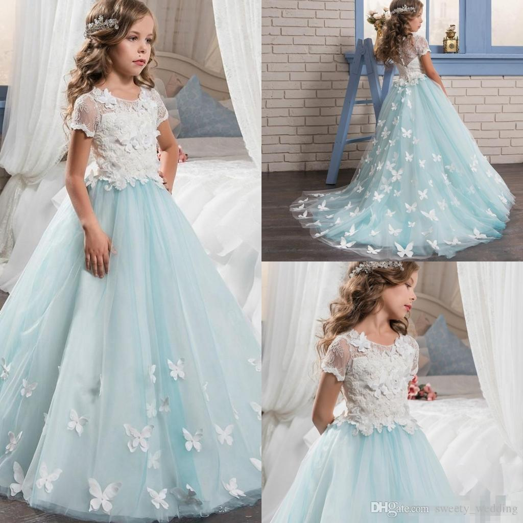 Pretty Lace Little Bride Flower Girl Dresses Short Sleeves With Cute ...