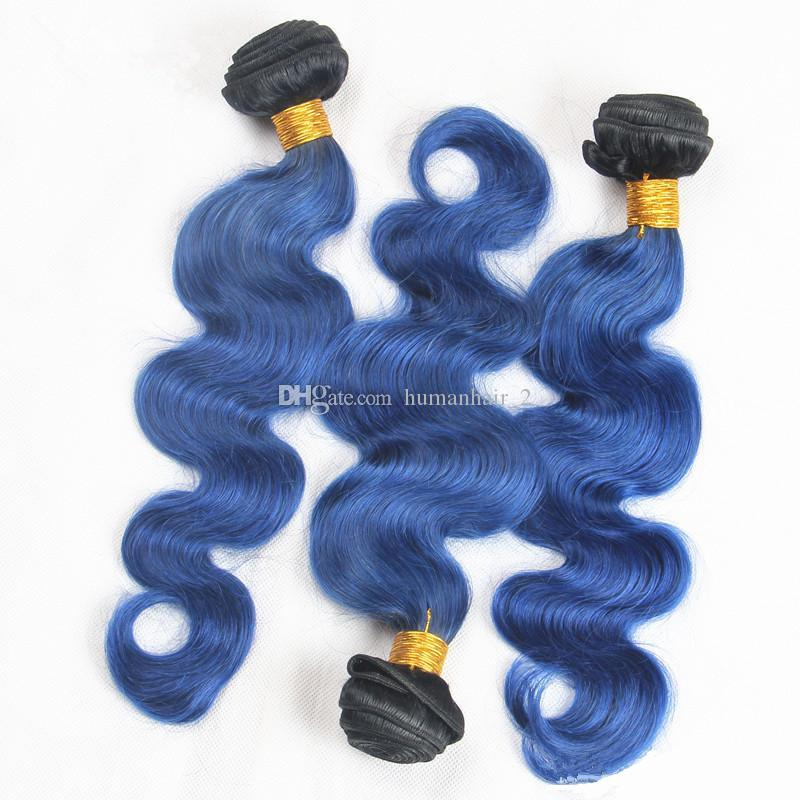 Two Tone Ombre Peruvian Body Wave Hair Weaves With Lace Frontal T1b Blue Virgin Human Hair Weft With Frontal Closure Double Weft Extensions