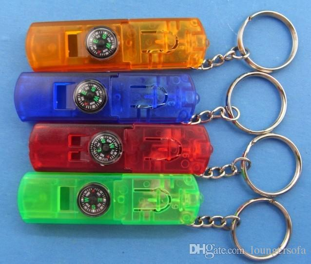 Multifunction Key Chain Flashlights Four In One Mini Flashlight Compass Whistle Key Lights Plastic Colorful Useful 1 1hh