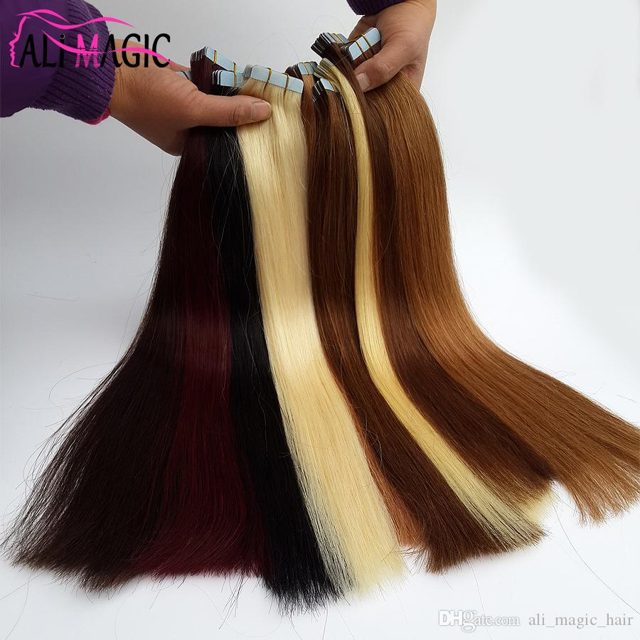 Ali Magic Factory Price Top Quality PU Tape In Skin Weft Hair Extensions 100g/Optional Peruvian Brazilian Remy Human Hair