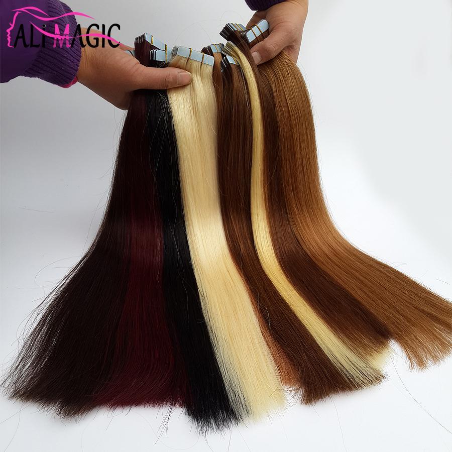 Ali Magic Factory Prix Top qualité PU bande dans la peau trame Extensions de cheveux 100g / 40 pièces 27 couleurs en option péruvien remy brésilien de cheveux humains