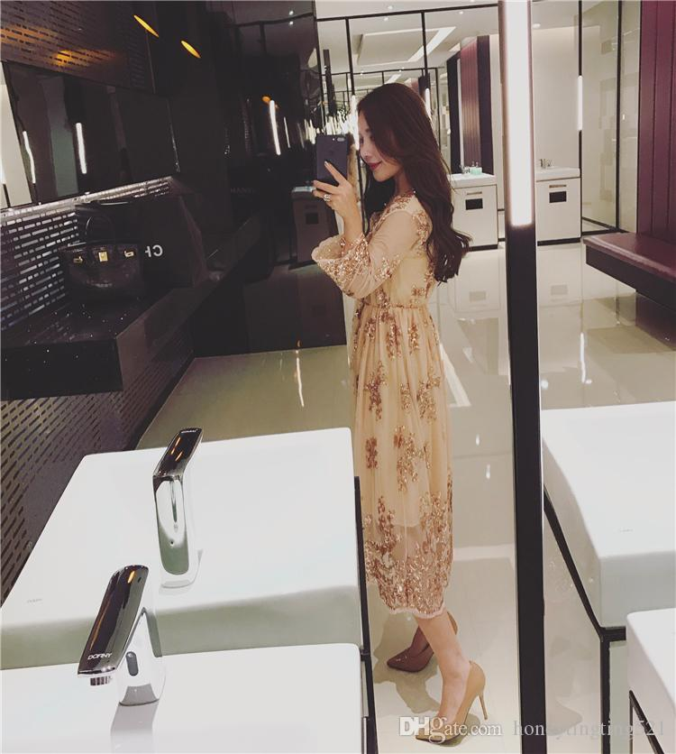 2017 new women's sexy fashion v-neck gold paillette embroidery lace long sleeve party long dress vestidos shinny bling dress
