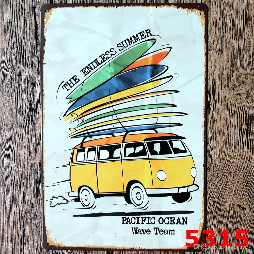 Bus Car Vehicle Retro metal Poster Wall Decor Bar Home Vintage Craft Gift Art 20x30cm Iron Painting Tin PosterMixed designs