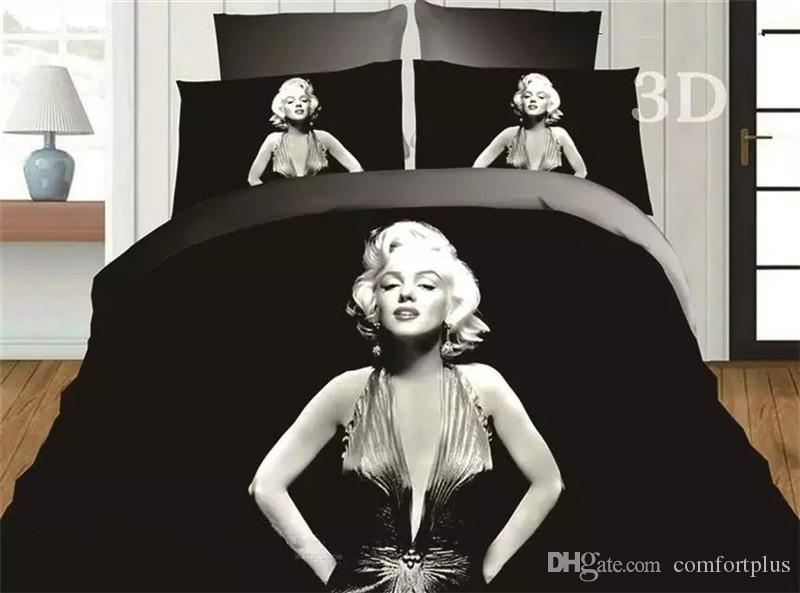 3D Marilyn Monroe Duvet Cover Set 4PC Quilt Cover Bed Sheet Pillowcase FullQueen Very sell like hot cakes style!