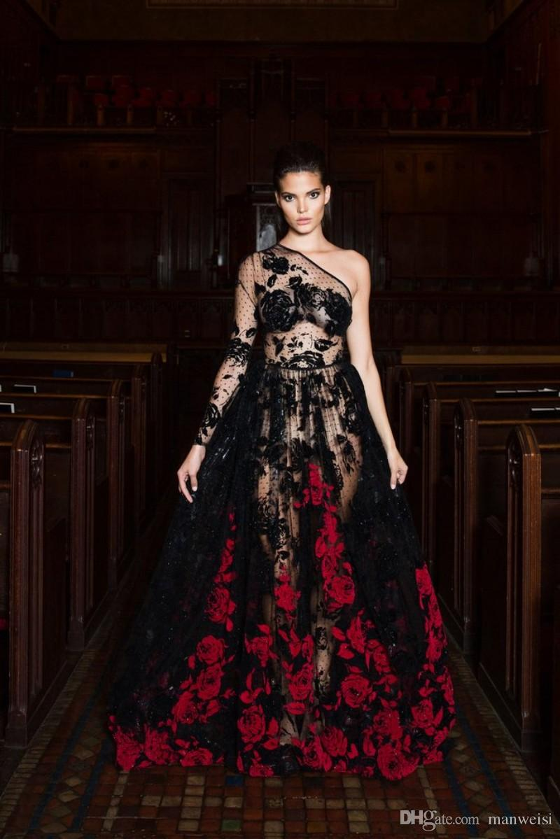 Sexy Long Sleeve Evening Dresses One Shoulder Lace Applique Printed Illusion Bodice Black Formal Prom Gowns