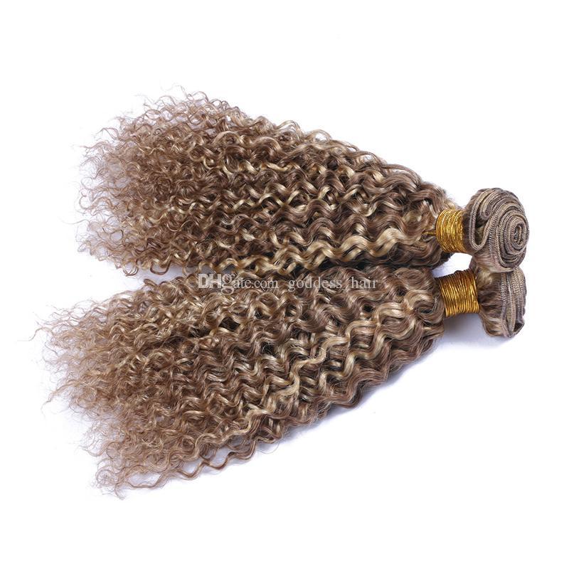 Virgin brasileño 9A paquetes de cabello humano 3 piezas mezcla de color de piano # 8 # 613 trama de pelo rizado profundo medio marrón y cabello rubio extensiones