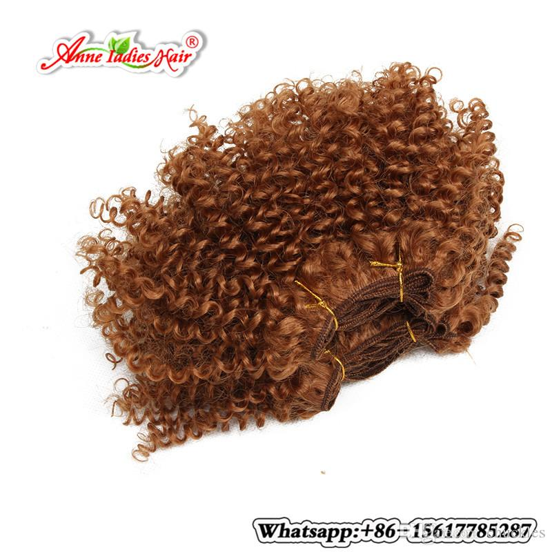 Ombre Red 8inch Kinky Curly Hair Weft Cheap Synthetic Hair Extension