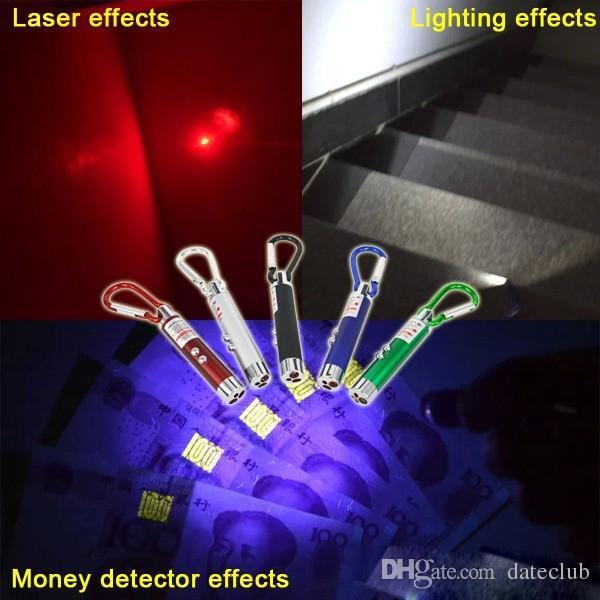DHgate Cheapest Mini 3 in1 LED Laser Light Puntatore Portachiavi Torce Mini Torcia Torcia Rivelatore di denaro Multicolore