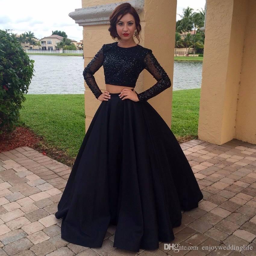 Vintage Black Two Pieces Prom Dresses 2017 New Elegant Sheer Long Sleeve Sequins Beaded Evening Dresses Long Sweep Train Celebrity Dresses
