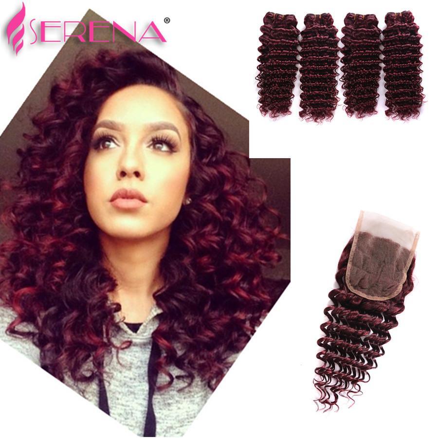 Nasses und gewelltes Lace Frontal Closure Malaysian Hair Bundles mit Ohr an Ohr Lace Deep Wave 4 Bundles mit Verschluss 99j Burgund