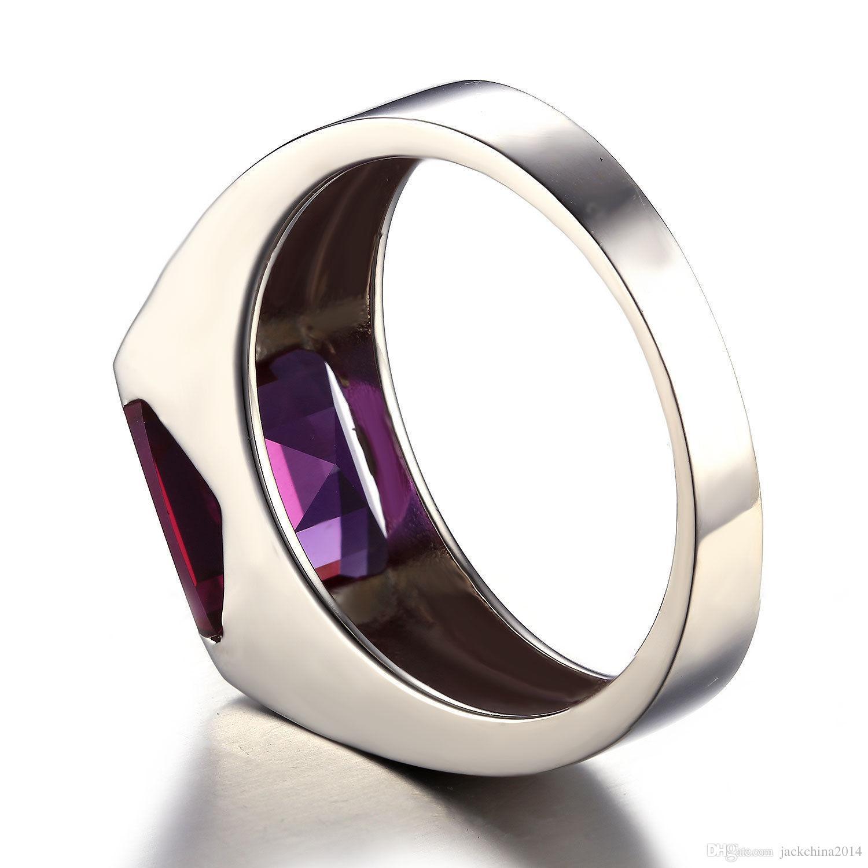 Gros Solitaire Mode Bijoux 925 Sterling Silver Princesse Carré Améthyste CZ Diamant Gemstones De Mariage Hommes Bague Cadeau Taille 8-12
