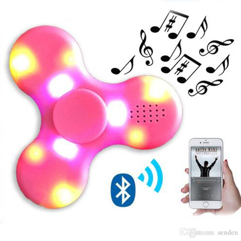 Newest EDC LED Light Flash Bluetooth Speaker Fidget Spinner HandSpinner Hand Spinner Finger Gag Toy For Decompression Anxiety Best Gift Toys