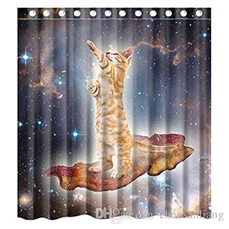 2018 Shower Curtain Bacon Galaxy Space Cat Bathroom Polyester Curtains Waterproof Antibacterial With 12 Hooks Bath From Chensanliang