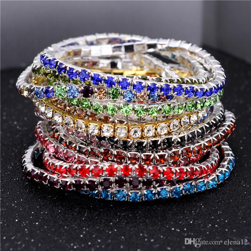 2019 3 6mm 1 Row Rhinestone Crystal Bracelets Stretch
