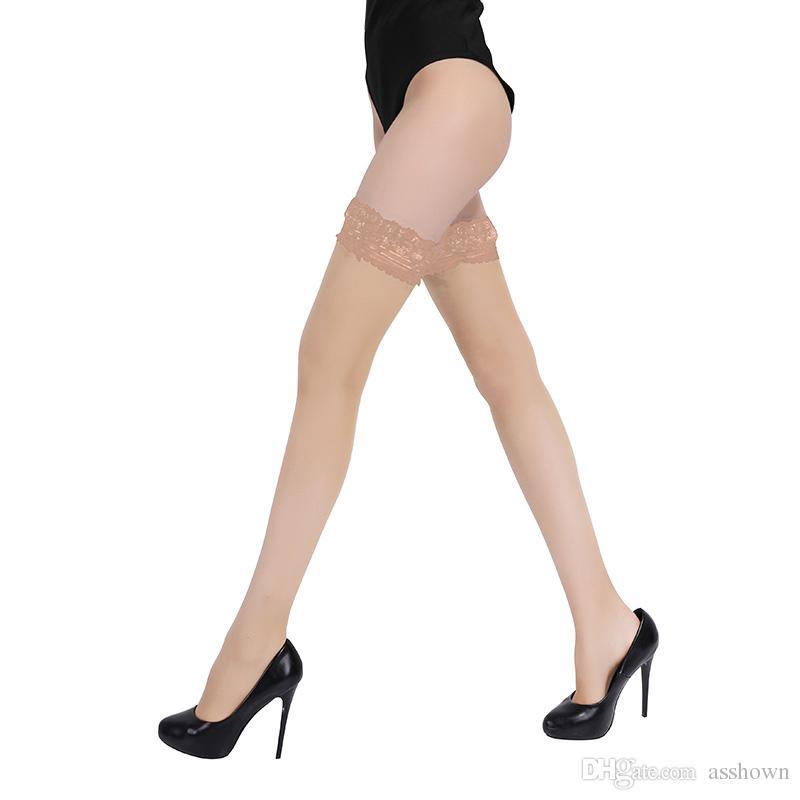 Chaud Cuisses Haut Bas Femmes Été Sur Les genoux Chaussettes Sexy Bas Femme Bonneterie Nylon Dentelle Style Restez Bas