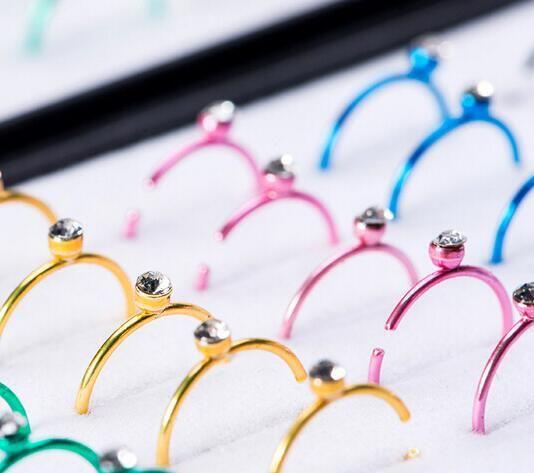 Из нержавеющей стали Кристалл Хооп нос кольцо пирсинг ювелирные изделия драгоценный камень губная губы брови бар Стад оптовые /много Рождественский подарок