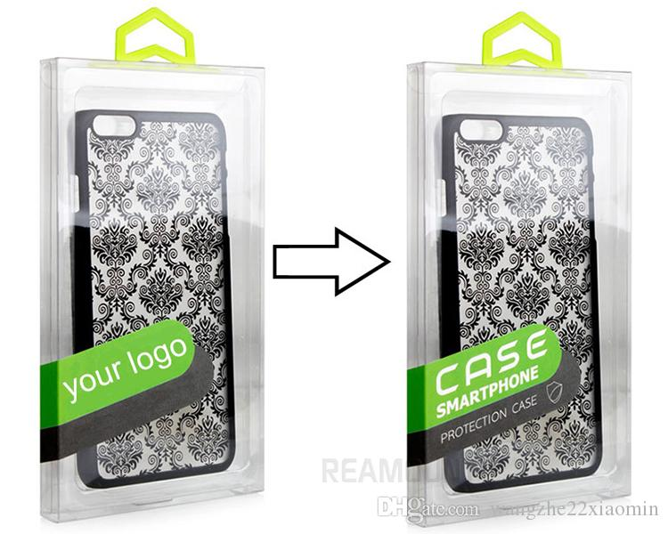Universal Retail DIY Custom Company LOGO Clear PVC Transparent Plastic Packaging Box for iphone 7 7 plus Shell Phone Case with Inner Tray