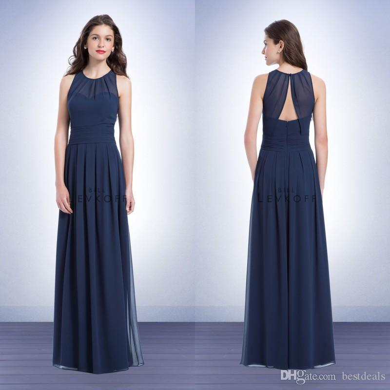 316ae72e0d4 Bill Levkoff A Line Jewel Floor Length Chiffon Navy Blue Bridesmaid Dress  With V Back Korean Style Prom Gowns Cheap Junior Bridesmaid Dress Navy Blue  ...