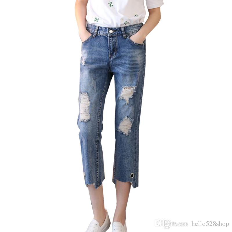 3a7621b07 Korean Style Spring New Loose Ladies Jeans Broken Skinny Pants Hole Cropped  Pants with Ring Design Slim Fit for Women