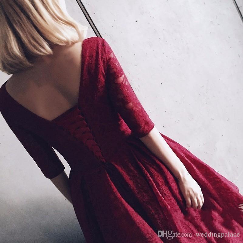 Deep V-cou Dentelle Robes De Bal Courtes Demi-Manches Rouge Foncé Arabie Saoudite Soirée Formelle Robes De Bal Robes De Festa Robes De Soirée