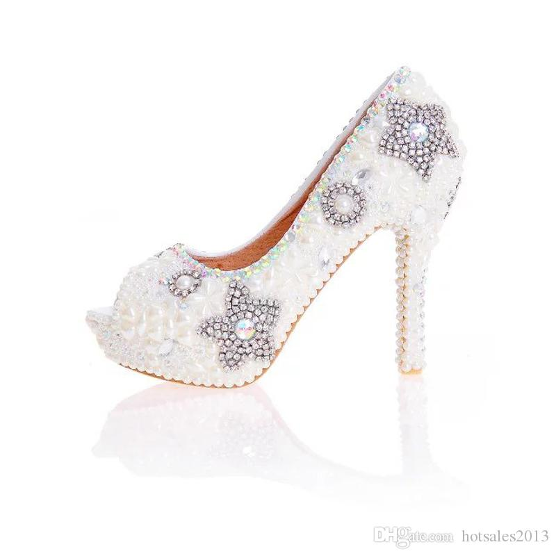 aceb20ad373969 Ivory Pearl Weding Shoes Peep Toe 2017 New Design Handmade Bridal ...