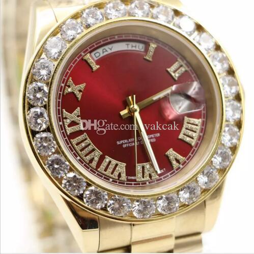 Free shipping watches men luxury brand Day-Date Red face diamond watch men automatic AAA sapphire 18K original clasp Mechanical WristWatche
