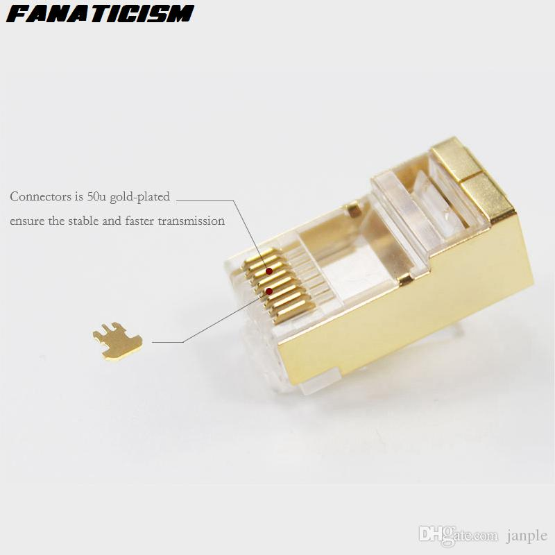 / Üst Kalite Altın Metal Shield RJ45 8P8C CAT5E Modüler Tak Ağ RJ45 CAT5 Ethernet Lan Kablo Modüler Fiş Adaptörü Bağlayıcı