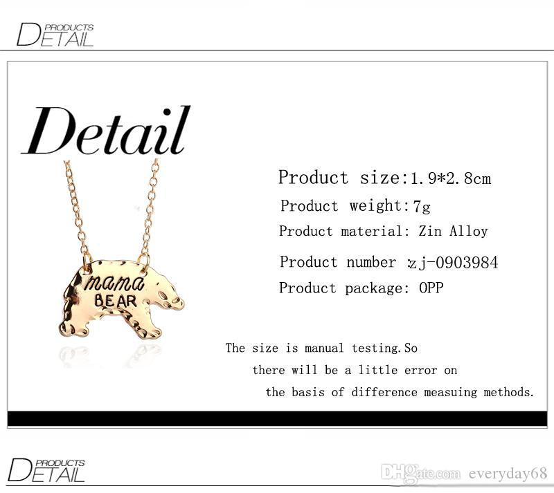 Gold Silver Personalized Mama Bear Polar bear Animal Pendant Necklaces Mother Necklace Mothers Day Gift For Mom Fashion Jewelry