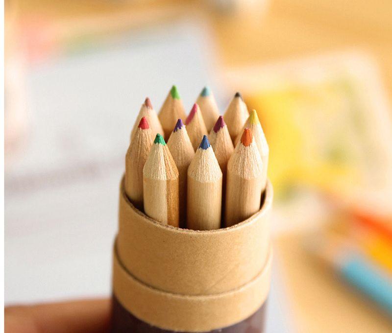 / DIY Mignon Kawaii En Bois Crayon De Couleur HB Bois Coloré Crayon pour Dessin Peinture Fournitures ensemble