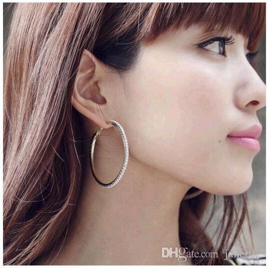 과장된 포장 라인 석 Huggies 후프 귀걸이 CZ 다이아몬드 8cm 9cm 빅 서클 진짜 스터드 드롭 귀걸이 여성을위한
