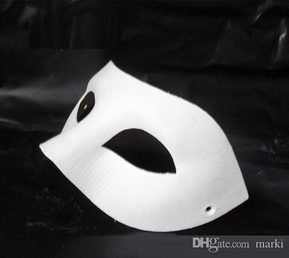 new marki 60pc Halloween solid white half-face DIY Zorro mask Blank paper match mask Novelty Halloween Party masquerade mask #H61A