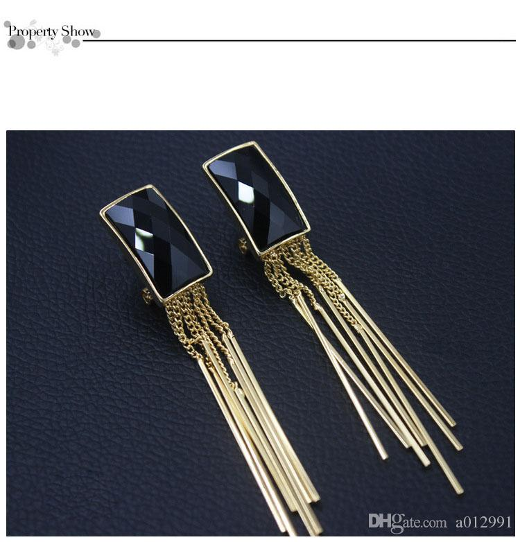 Hot Korea Fashion Tassel Earrings wholesale Long Crystal Screw Clip earrings for no ear hole women Girls wholesale Party Performance Jewelry