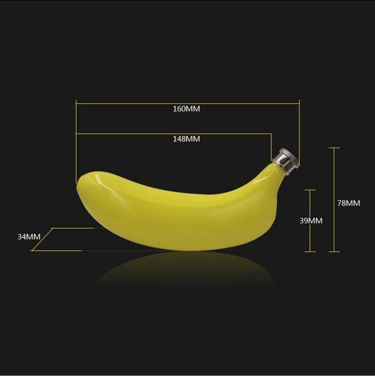 5 unze Bananen Förmigen Flachmann 304 Edelstahl Obst Drink Whisky Schnaps Flasche Wein Topf KEIN Trichter