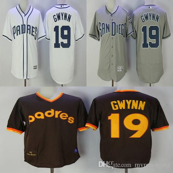 f26547022 ... 2017 Men San Diego Padres 19 Tony Gwynn White Gray Brown Baseball  Jerseys Adult Size From ...