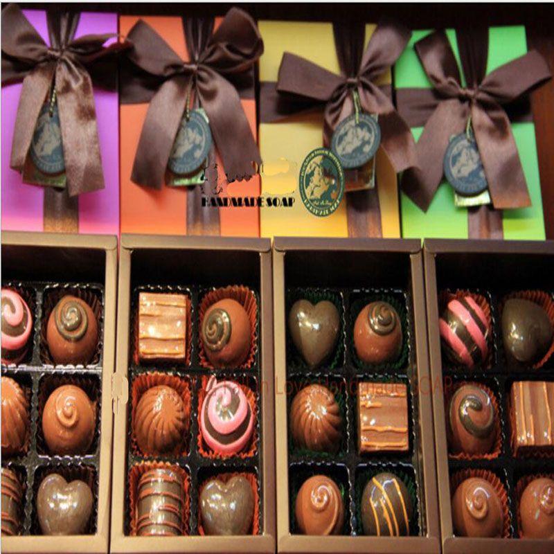 Home Decoration 100% Handmade Chocolate Style Oil Soap Decorative Christmas Gift Box Savon Coffret Idee Cadeaux