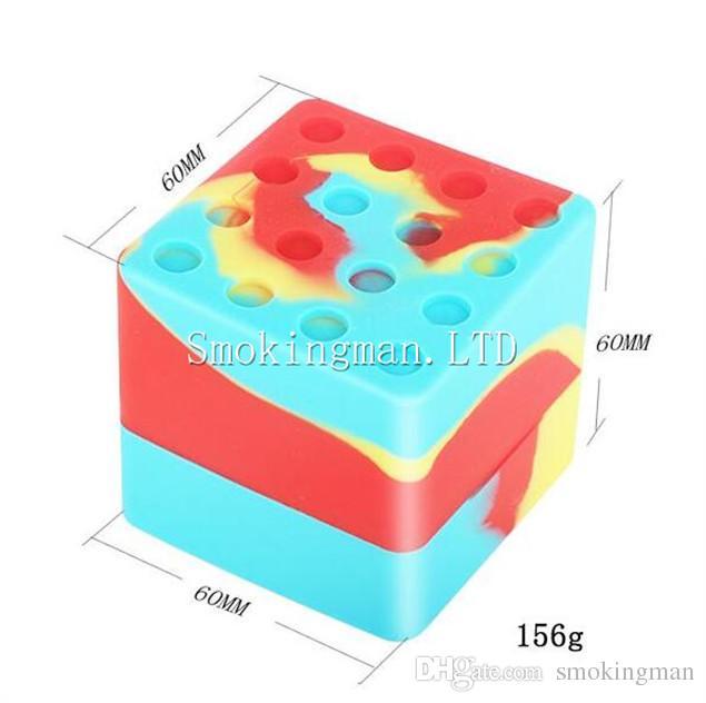 Frasco de silicona grande y caliente Frascos de cera de silicona Frascos de 60 ml de aceite de silicona del barril Frascos de envase de 60 mm * 60 mm Frasco de goma del aceite del vaporizador de cera dab contenedor