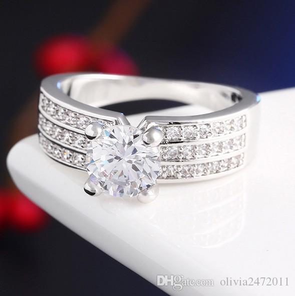 Neue Gold Silber Ringe 3 Schichten Zirkon Inlay Glänzende Kristall Braut Verlobungsring Hochzeit Schmuck HZ
