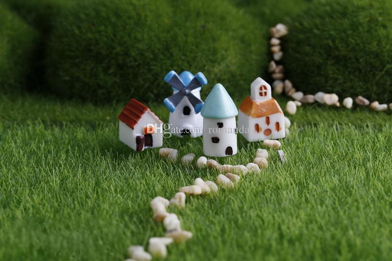 Mini Resina Simulação Igreja Castelo Moinho de Vento Galpão Casa De Fadas Jardim Em Miniatura Artesanato Micro Paisagem Cottage Decoração